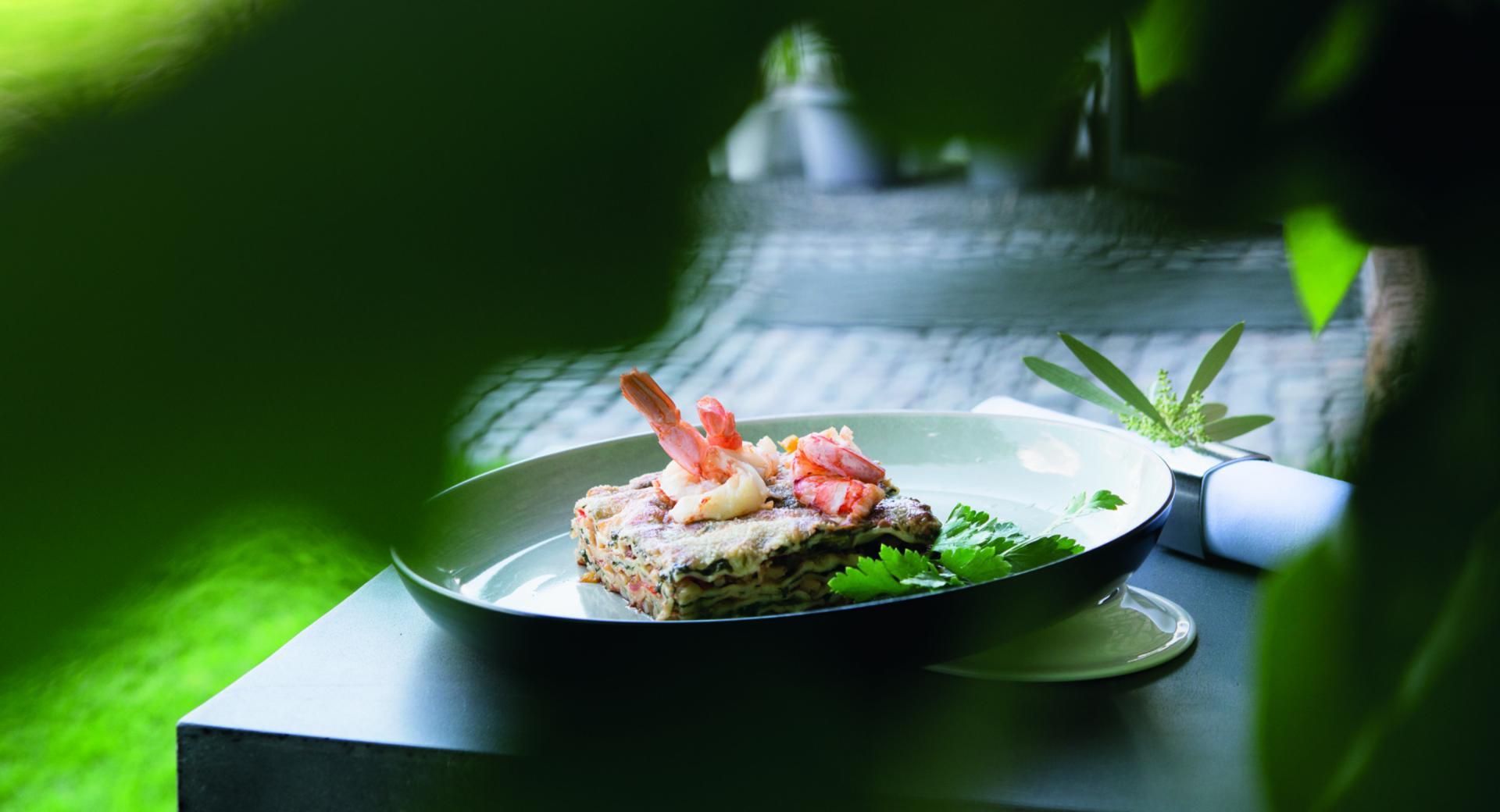 Lasagne mit Tintenfisch und Spinat
