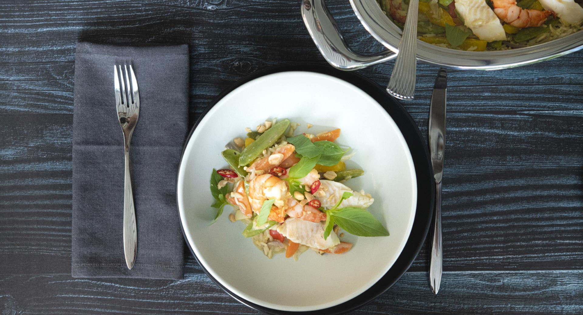 Garnelen-Fischplatte «Green Curry»
