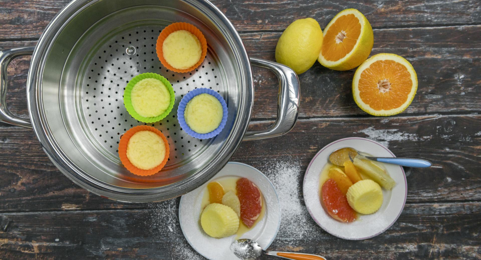 Quark-Soufflé mit Zitrusfrüchten