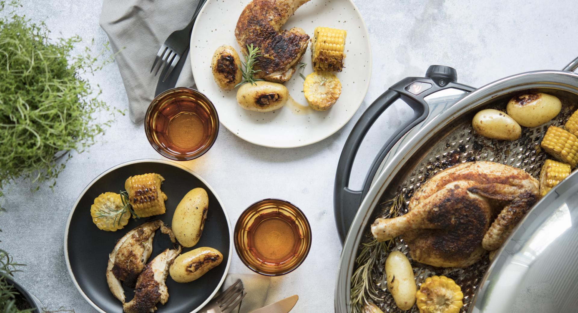 Brathähnchen mit Kartoffeln und Mais