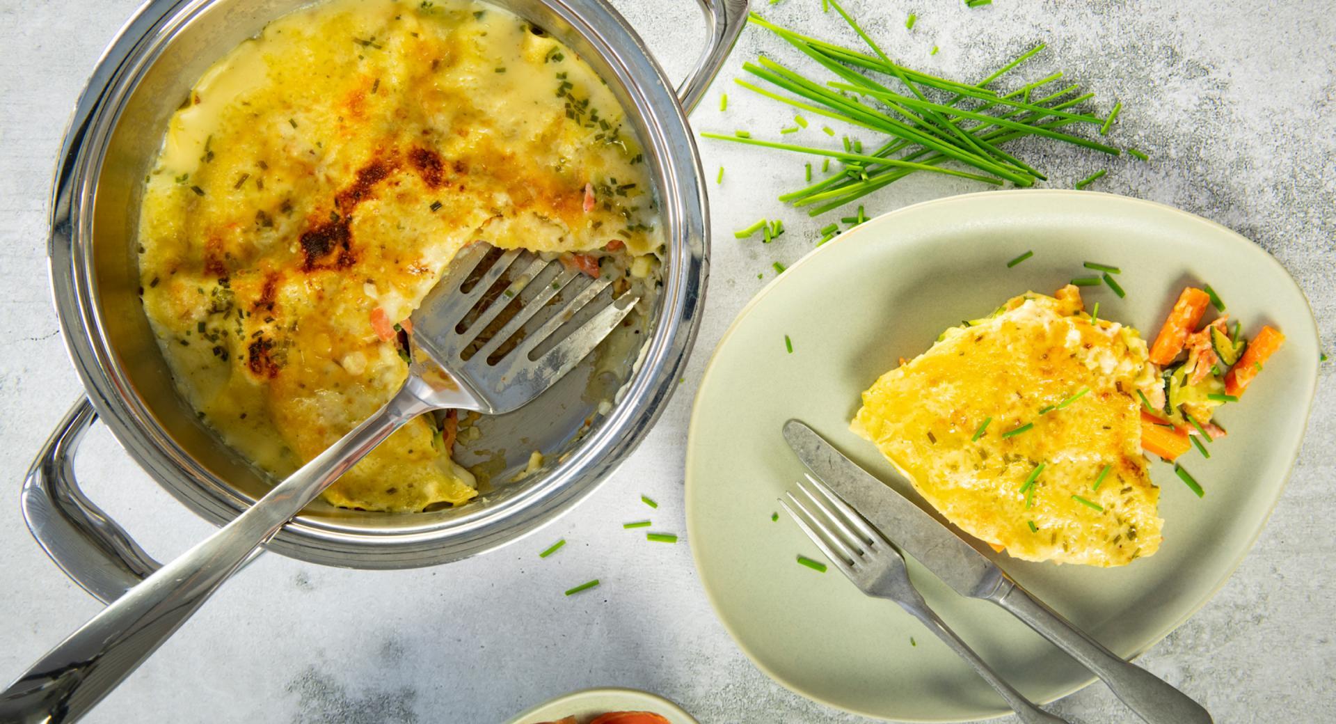 Lachslasagne mit Zucchini