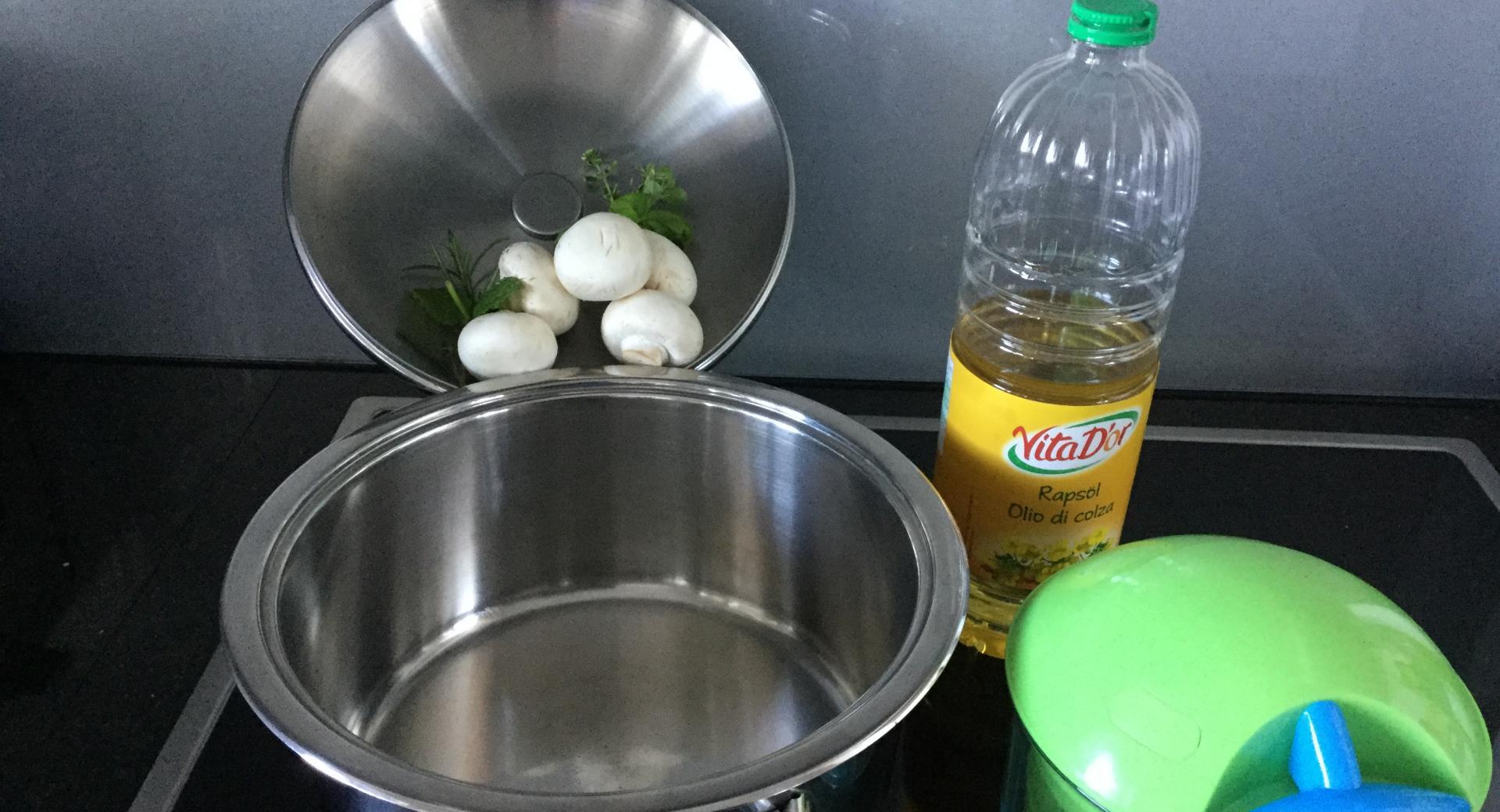 Pilze an grüner Sauce