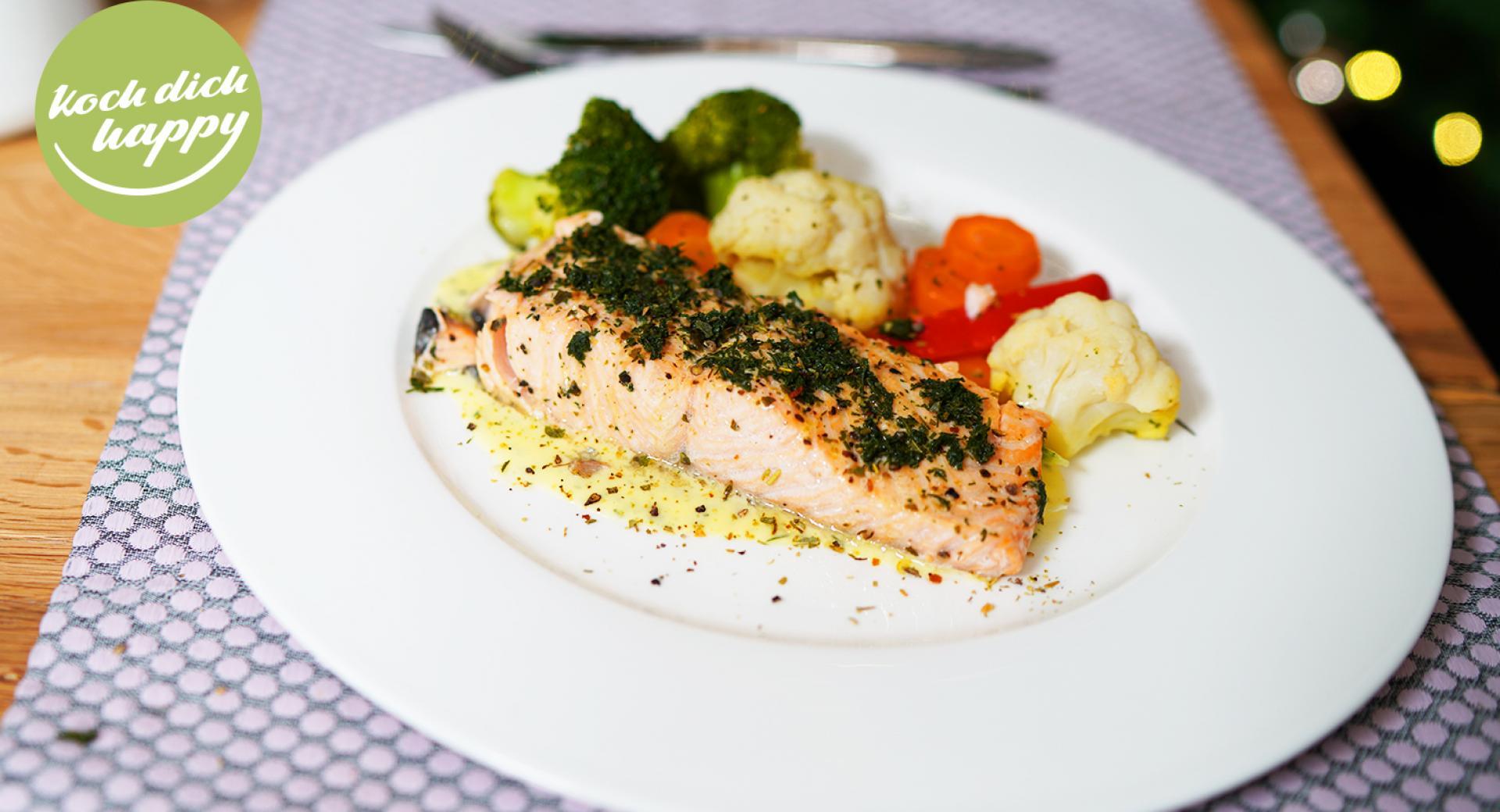 Gemüse mit Lachfilet
