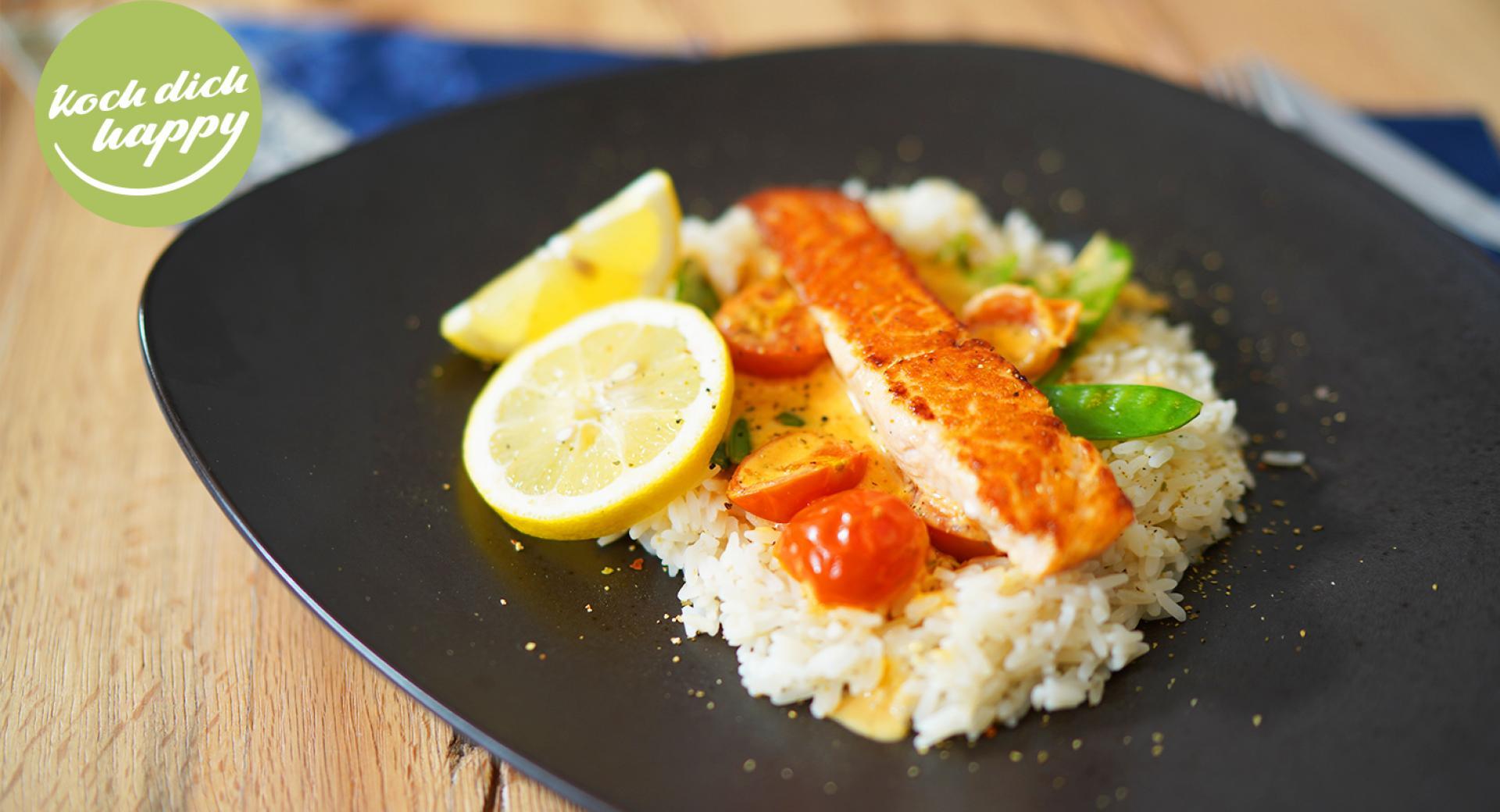 gebratener Lachs mit Reis