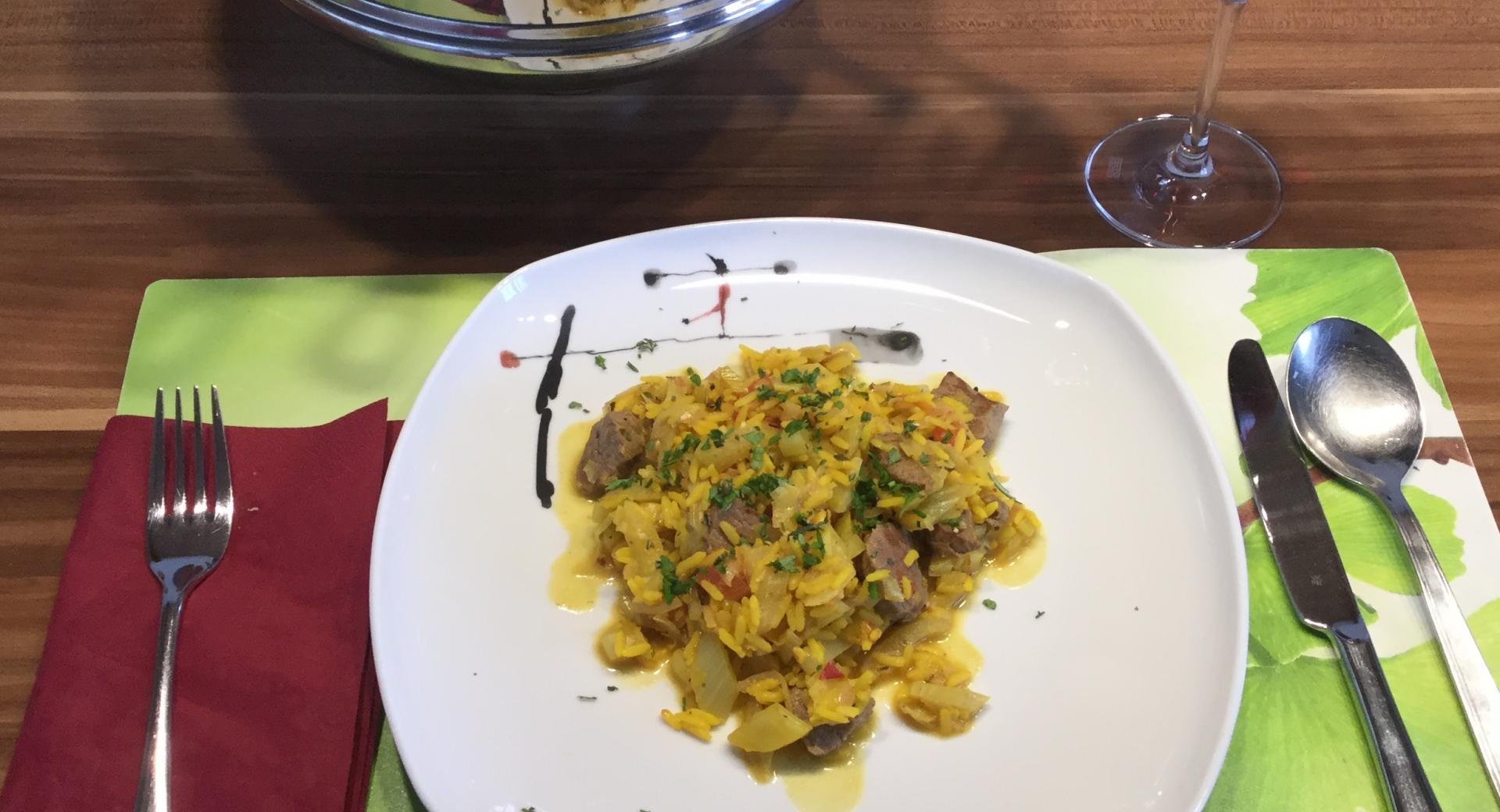 Lamm-Safran-Gemüse-Reis-Eintopf