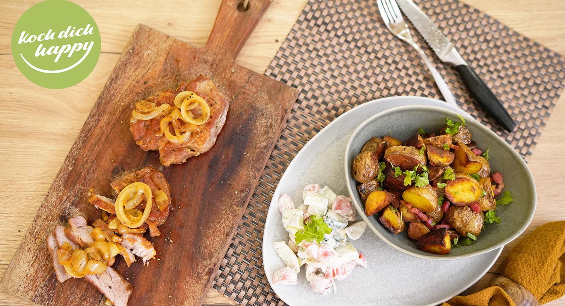 Bratkartoffeln und Steak