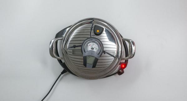 Schalte den Audiotherm mit der rechten oder linken Taste ein, setz ihn auf den Visiotherm und drehe bis das Brat-Symbol erscheint .