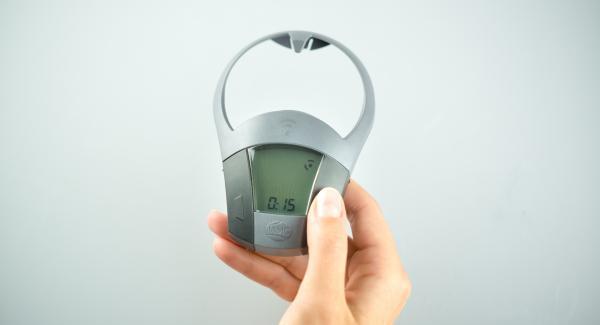 Schalte den Audiotherm mit der rechten oder linken Taste einund gib 15 Minuten Garzeit ein.