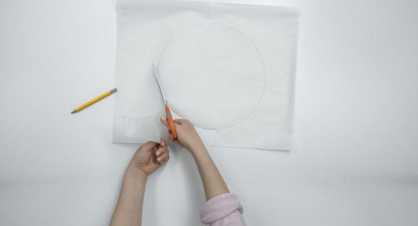 Mit Hilfe eines Deckels 24 cm einen Kreis aus Backpapier ausschneiden.
