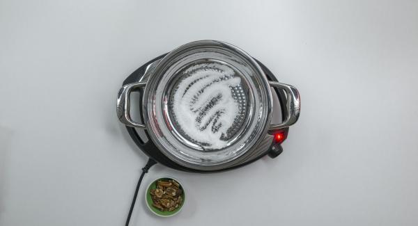 Zucker in eine HotPan geben und auf höchste Stufe schalten. Sobald der Zucker zu schmelzen beginnt auf niedrige Stufe schalten und hell karamellisieren.