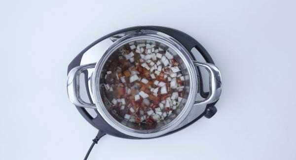 Alles zusammen mit den Linsen in den Topf geben. Wasser, Olivenöl, Paprika und Salz hinzufügen.