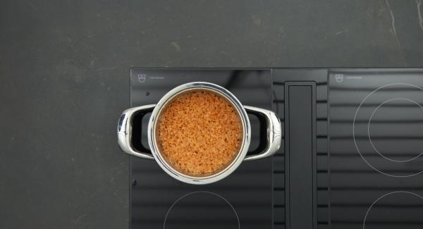 Sobald der Audiotherm beim Erreichen des Gemüse- Fensters piepst, auf niedrige Stufe schalten und fertig garen