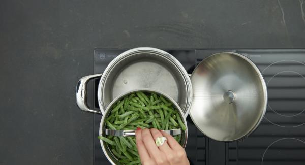 Eine Tasse Wasser in den Topf füllen, gefrorene Bohnen in den Softiera-Einsatz geben und diesen hineinstellen.