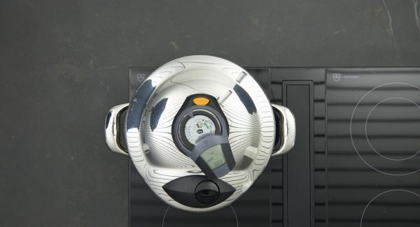 Sobald der Audiotherm beim Erreichen des ersten Soft-Fensters piepst, auf niedrige Stufe schalten und fertig garen.