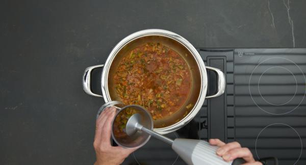 Etwa die Hälfte der Gemüsesauce herausnehmen, fein pürieren und für eine natürliche Bindung wieder zugeben. Pikant abschmecken, Frikadellen wieder in die Sauce geben und ca. 5 Minuten garziehen lassen.