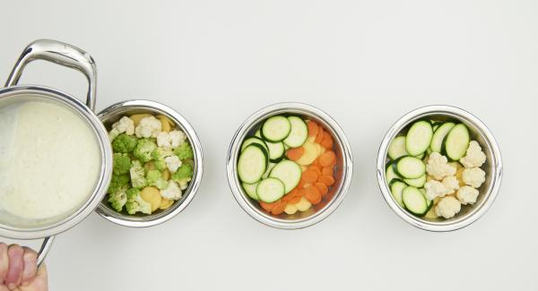 Kartoffeln und Gemüse vorbereiten und in dünne Scheiben oder kleine Röschen teilen. Ganz nach Geschmack in die Cook & Serve verteilen, mit der vorbereiteten Sahne-Mischung übergießen und Deckel auflegen.