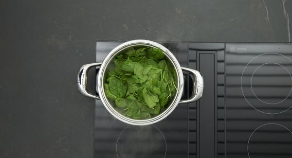 Spinat putzen, Schalotte schälen und fein würfeln. Schalottenwürfel in einen Topf geben, auf Herd stellen, auf höchste Stufe schalten, bis zum Brat-Fenster aufheizen. Auf niedrige Stufe schalten, Schalotte anschwitzen und tropfnassen Spinat zugeben.