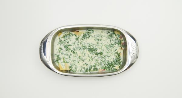 Mit Bolognese beginnend alles abwechselnd in die Lasagnera schichten, mit Creme-Spinat enden, zum Schluss Parmesan darüber streuen. Im Backofen ca. 30 Minuten gold-braun backen.