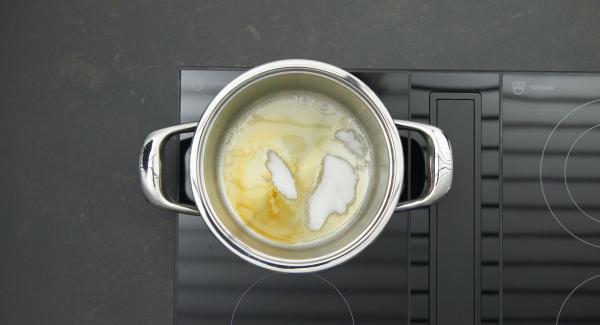 Zucker in Topf geben, auf Herd stellen, auf höchste Stufe schalten. Sobald der Zucker zu schmelzen beginnt, auf niedrige Stufe schalten und hell karamellisieren.