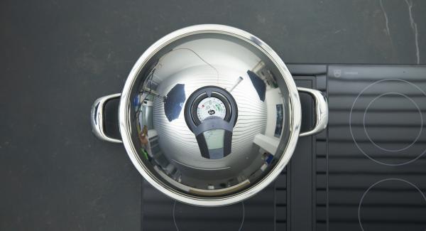 HotPan auf Herd stellen auf höchste Stufe schalten, mit Hilfe des Audiotherms bis zum Brat-Fenster aufheizen.