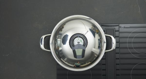 Sobald der Audiotherm beim Erreichen des Brat-Fensters piepst, Deckel wieder abnehmen, auf niedriger Stufe schalten und anbraten.