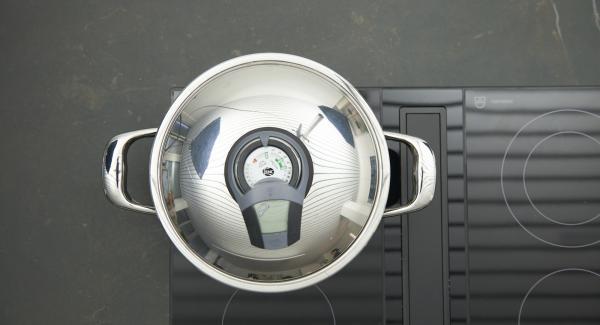 Topf auf Herd stellen und auf höchste Stufe schalten. Audiotherm einschalten, auf Visiotherm aufsetzen und drehen bis das Brat-Symbol erscheint.