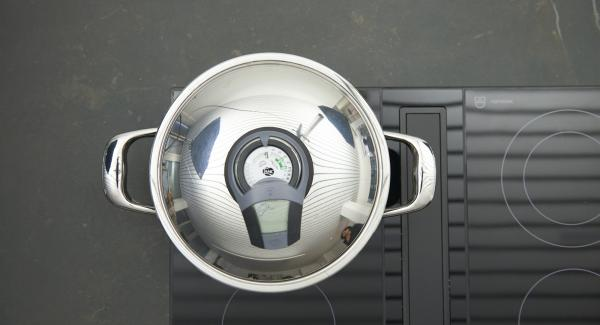Sobald der Audiotherm beim Erreichen des Brat-Fensters piepst, auf niedrige Stufe schalten und Gulasch portionsweise anbraten, mit der letzten Portion Zwiebeln und Knoblauch mitbraten.
