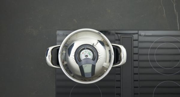 Wasser in den Topf geben, Topf auf Herd stellen und diesen auf höchste Stufe schalten. Audiotherm einschalten, auf Visiotherm aufsetzen und drehen bis das Brat-Symbol erscheint.