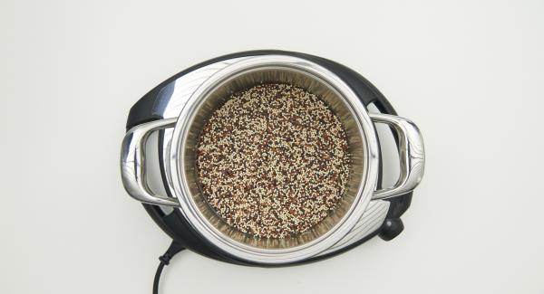 Wasser, Quinoa und Salz im Topf mischen. Topf auf Navigenio stellen, Secuquick softline aufsetzen und verschliessen.