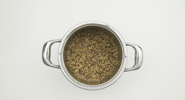 Secuquick abnehmen, Quinoa auflockern und servieren.