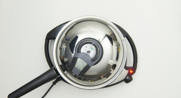 Deckel auflegen, Navigenio auf Stufe 6 schalten, Audiotherm einschalten, ca. 10 Minuten am Audiotherm eingeben, auf Visiotherm aufsetzen und drehen bis das Gemüse-Symbol erscheint.