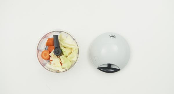 Weisskohl und Möhren putzen und im Quick Cut fein hacken. Zwiebel, Chili, Knoblauch und Ingwer ebenfalls putzen und fein hacken. Zwiebel-Mix in die HotPan geben, auf Navigenio stellen und auf Stufe 6 schalten. Audiotherm einschalten, auf Visiotherm aufsetzen und drehen bis das Brat-Symbol erscheint.