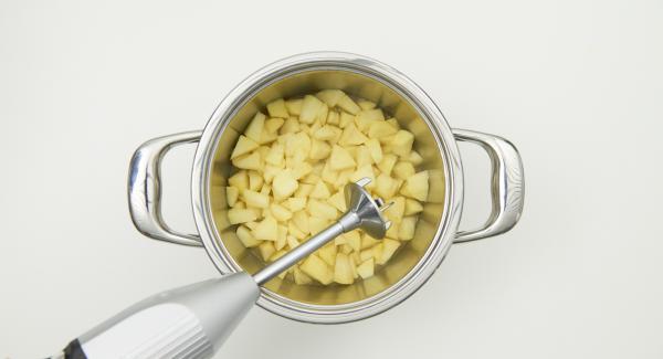 Nach Ablauf der Garzeit gedämpfte Äpfel mit einem Stabmixer fein pürieren und nach Geschmack verfeinern.