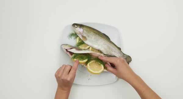 Forellen mit kaltem Wasser abspülen und trocken tupfen. Innen mit Salz und Pfeffer würzen und jeweils 2 Zitronenscheiben und 2 Stängel Dill in den Bauch der Forellen geben.