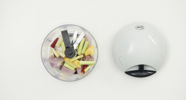 Chili, Zitronengras, Schalotten und Ingwer im Quick Cut grob hacken, in den 20 cm Topf geben.