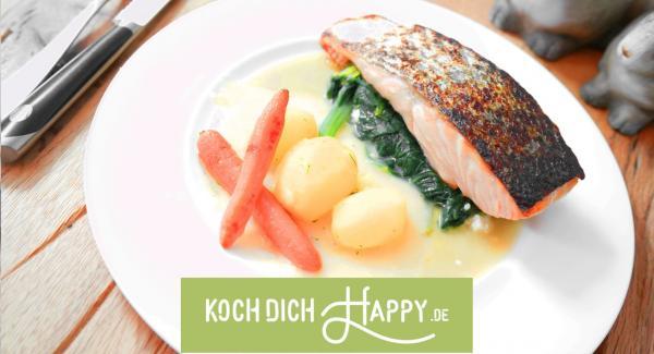 VIDEO! Lachsfilet auf Feta-Spinat und Salzkartoffeln