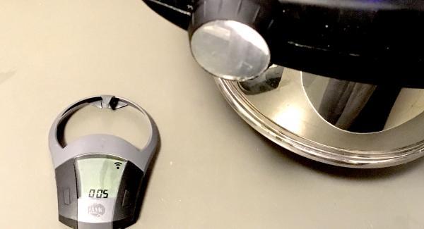 Nach Ablauf der 10 Minuten den Topf von alleine drucklos werden lassen. Danach den Secuquick abnehmen. Den Navigenio auf den Topf stellen. Bei Stufe 2 den Audiotherm auf 5 Minuten stellen und den Braten überbacken.