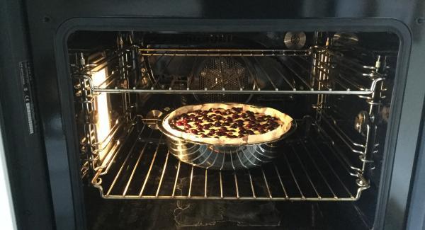 Und Den Backofen auf 180°C vorheizen. Den vorbereiteten Kuchen aus der Kühle nehmen und den Guss darübergiessen. Durch leichtes schwenken auf dem Boden gleichmässig verteilen. Das ganze für ca. 45 Minuten auf der unteren Rille im Ofen backen. Holzspiesstest: Spiess in den Kuchen stecken, es sollte keine Gussresten am Holz kleben bleiben. Herausnehmen und etwa 15 Minuten abkühlen lassen, dann mit Puderzucker bestäuben. In Portionen teilen und mit einer Rahmrosette und 2 Heidelbeeren ausgarniert servieren.