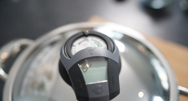 Den Audiotherm zweimal auf das Fleischsymbol drehen.