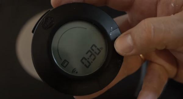 """Den Audiotherm auf das """"Backofensymbol"""" einschalten und auf 30 Minuten einstellen."""