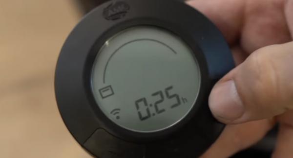 """Den Audiotherm auf das """"Backofensymbol"""" einschalten und auf 25 min einstellen."""