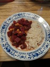 Rote-Bete-Kichererbsen mit Reis
